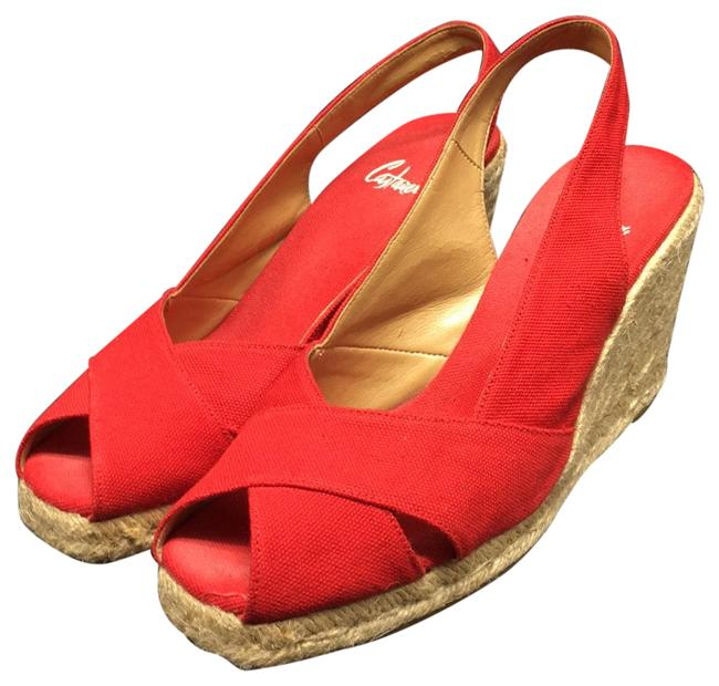 Item - Red Espadrille Peep Toe Slingback Espadrilles Wedges Size EU 37 (Approx. US 7) Regular (M, B)
