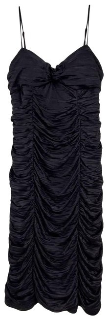 Item - Black Ruched Drapped Knee Length Bodycon Short Casual Dress Size 8 (M)