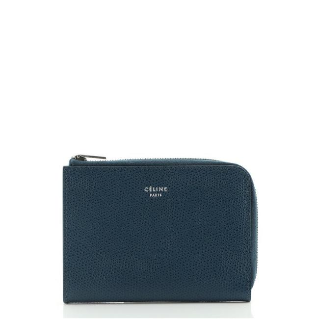 Item - Multifunction Zip Coin Pouch Blue Leather Clutch