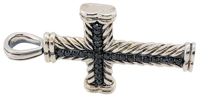 Item - Men's Silver Chevron Black Diamond Cross Pendant Charm