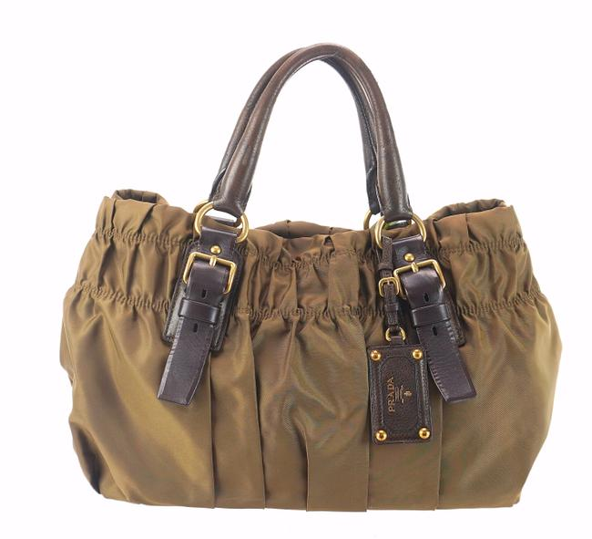 Item - Gauffre Tote Olive Green and Brown Ruffled Tessuto Nylon Leather Shoulder Bag