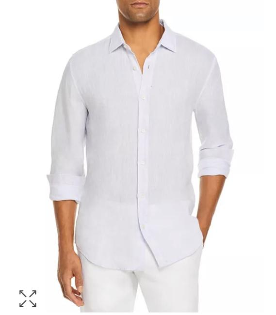 Item - Crisp White Men's Store Linen Shirt Button-down Top Size 14 (L)