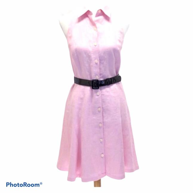 Item - Pink Sleeveless Linen Fit and Flare Mid-length Work/Office Dress Size Petite 8 (M)