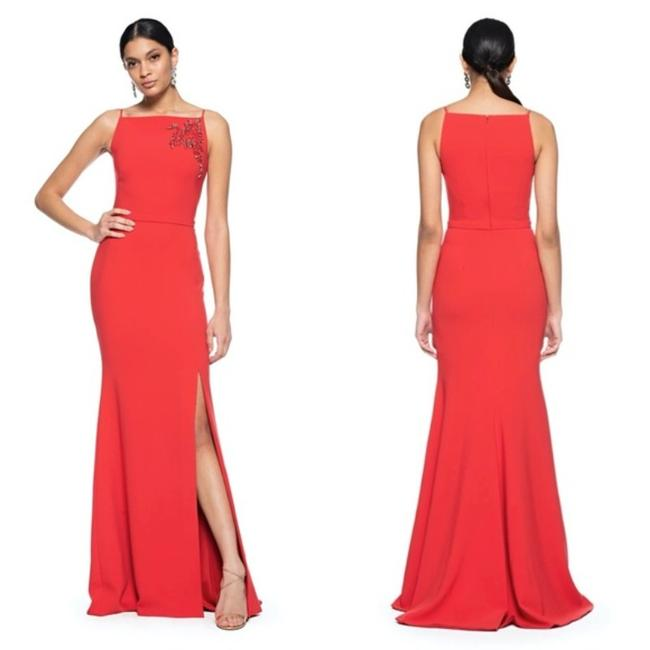 Item - Couture Red Tomato Beaded Apron Neck Slit Gown Long Formal Dress Size 8 (M)