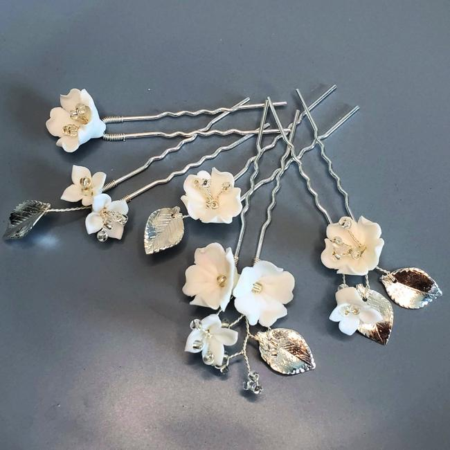 Item - Silver Girl 5pcs Pin Hairpin Ceramic Floral Hairpiece Flower Gift Hair Accessory