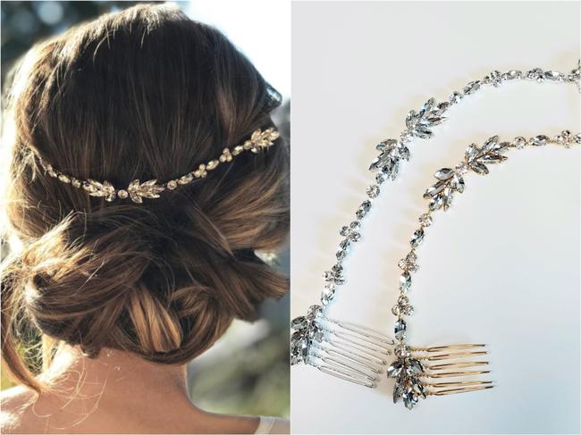 Item - Gold Sparkling Marquise Crystal Vine Veil Comb Headpeice Hair Accessory