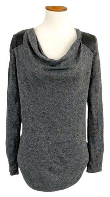 Item - Faux Leather Mixed Cowl Neck Gray Black Sweater