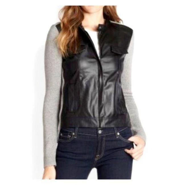 Item - Gray Black Anthropologie Faux Leather Cardigan Size 4 (S)