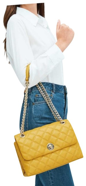 Item - Natalia Quilted Yellow Gold Leather Shoulder Bag