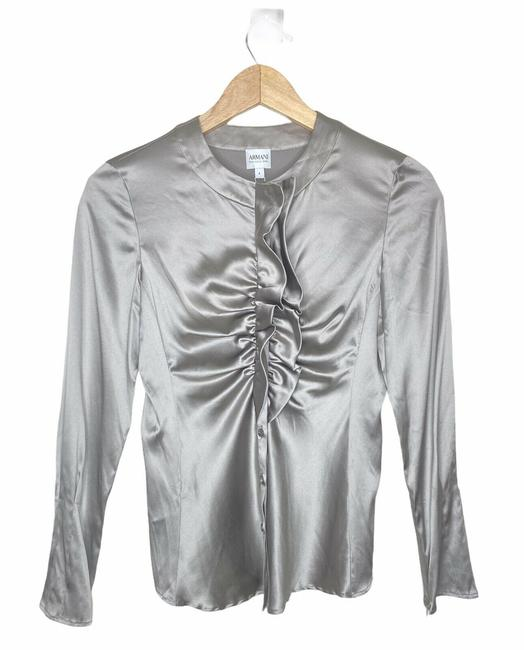 Item - Silver Ruffle Blouse Size 4 (S)
