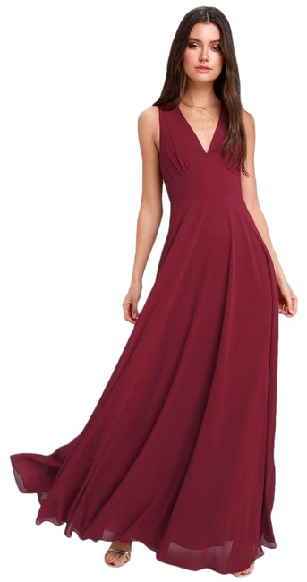 Item - Red Here For Love Burgundy Sleeveless Maxi Large Long Formal Dress Size 12 (L)