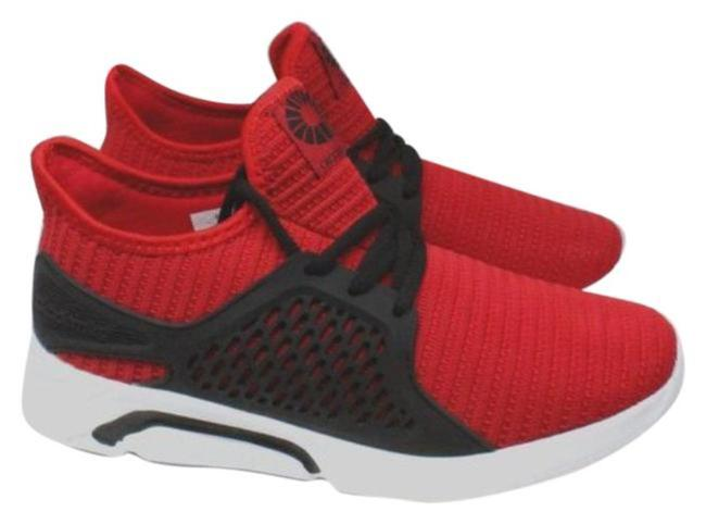 Item - Red Men's Mid-top Knitted Fashion Sneakers Men's Boots/Booties Size US 9 Regular (M, B)