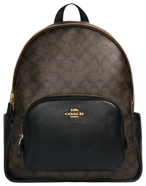 Item - 6495 Large Court In Signature Brown Black Canvas Backpack