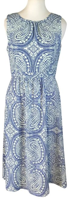 Item - Blue Paisley Print Light Weight Mid-length Casual Maxi Dress Size 12 (L)