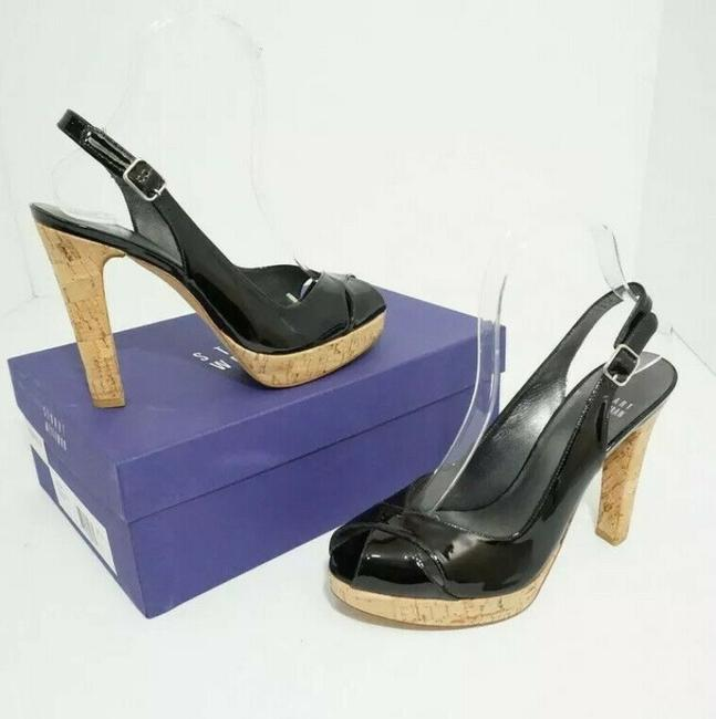 Item - Black Exsling Patent Leather Women's Platform High Heels Sandals Size US 7 Regular (M, B)