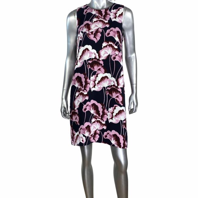Item - Black Purple Floral Sheath Short Cocktail Dress Size 8 (M)
