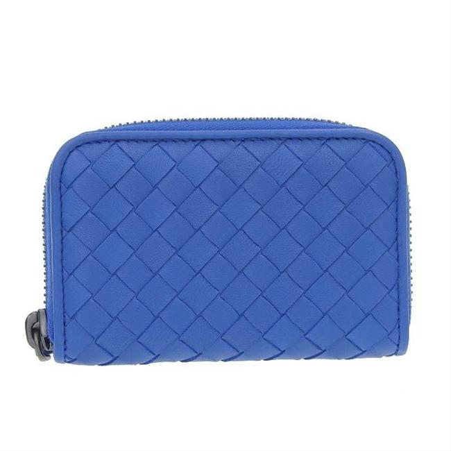 Item - Blue Intrecciato Leather Coin Case Wallet