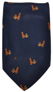 Chanel Chanel Paris Navy Blue Rooster Pattern 100% Silk Necktie Tie Made In Italy
