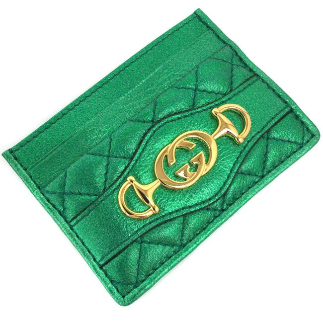 Item - Gold / Green Pass Case Zumi Boutique Line Quilting Metallic 536354 Leather Ladies Wallet