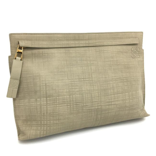 Item - Second Linen T Pouch Beige Leather Clutch