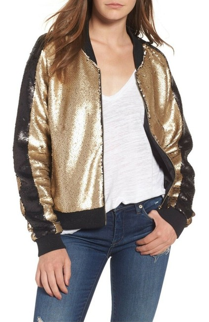 Item - Gold Black Sequin Varsity Bomber In And Jacket Size 4 (S)