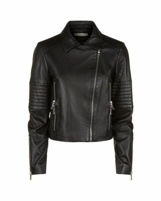 Item - Black Aiah Quilted Accents Zipped Lamb Moto Jacket Size 8 (M)