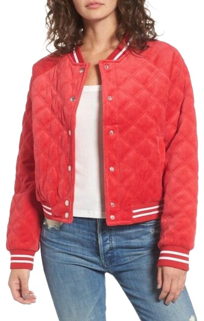 Item - Red Quilted Velour Bomber Jacket Size 16 (XL, Plus 0x)