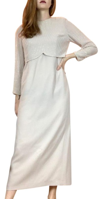 Item - Beige Champagne Colored Beaded Floor Length Gown Long Formal Dress Size 8 (M)
