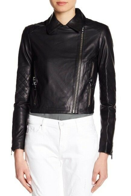 Item - Black Adaire Ultra Soft Quilted Moto Jacket Size 12 (L)