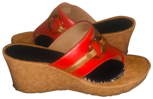 Item - Red In Coral and Gold Sandals Size US 8 Regular (M, B)