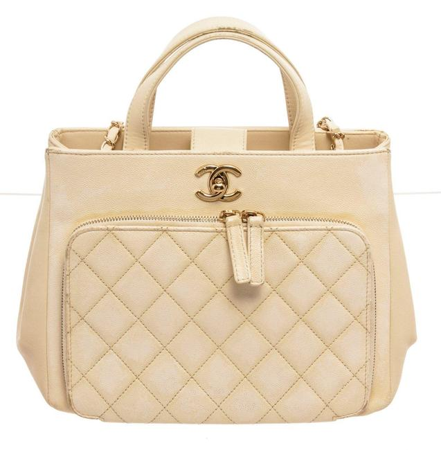 Item - Business Affinity Cream Caviar Leather Shoulder Bag