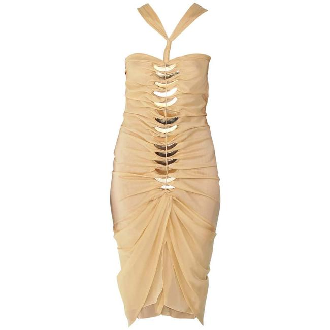 Item - Yellow 2004 Tom Ford For Embellished Silk Mid-length Night Out Dress Size 8 (M)