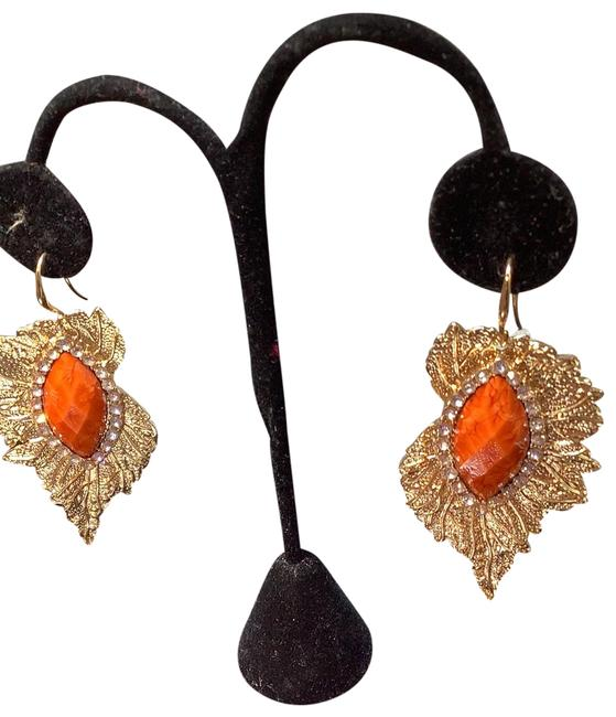 Item - Gold Color with Orange Jamie Stoned with Crystal No Numbness Earrings