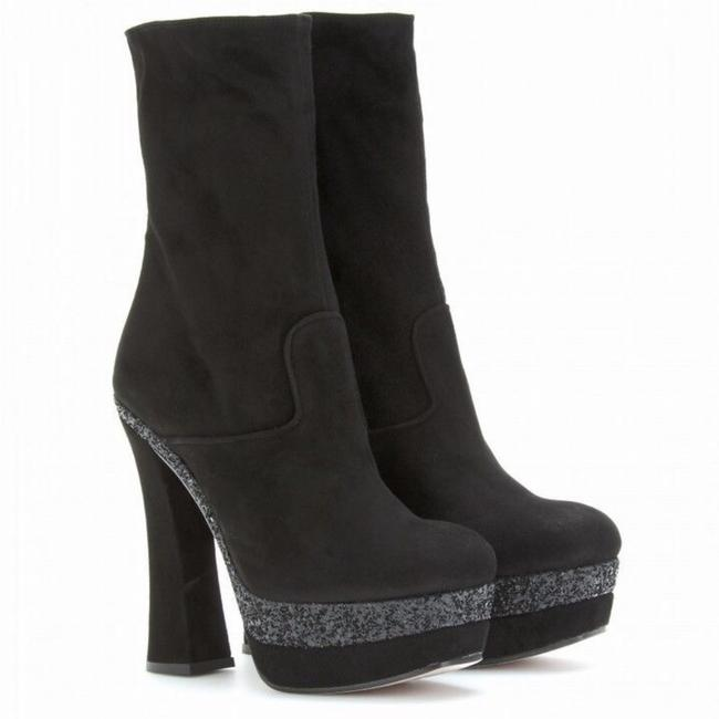 Item - Black Suede and Glitter Square Toe Platform Boots/Booties Size EU 38 (Approx. US 8) Regular (M, B)