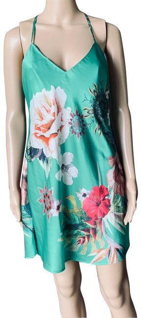 Item - Green Silk Floral Mid-length Night Out Dress Size 10 (M)