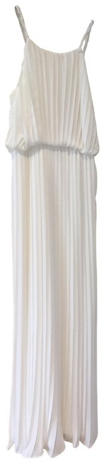 Item - White Pleated Halter Long Formal Dress Size 2 (XS)