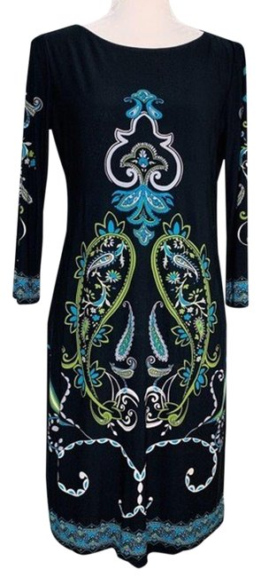 Item - Black Geometric Floral Paisley 3/4 Sleeve Stretch Mid-length Cocktail Dress Size 6 (S)