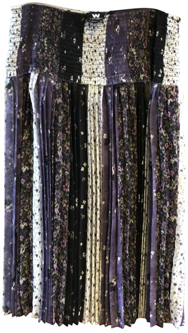 Item - Purple Floral Pleated Skirt Size 6 (S, 28)