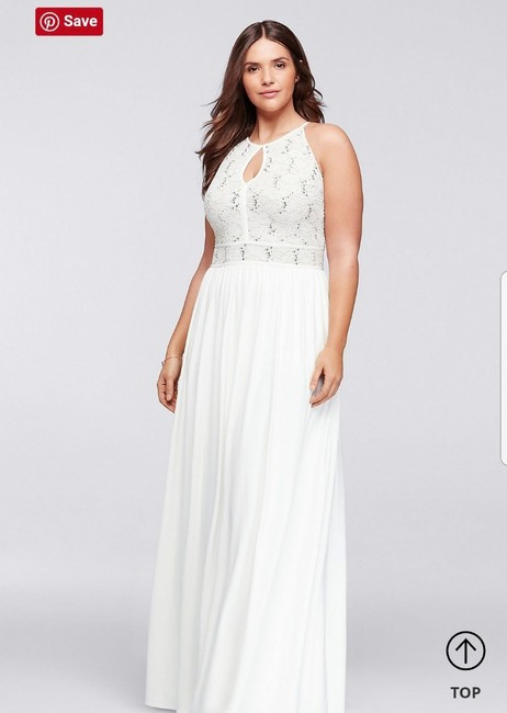 Item - White Cream and Gold Jersey Halter with Glitter Lace Bodice Casual Wedding Dress Size 16 (XL, Plus 0x)