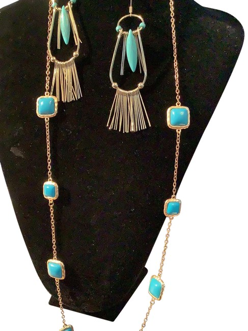 Item - Blue Turquoise with Gold New Number Necklace