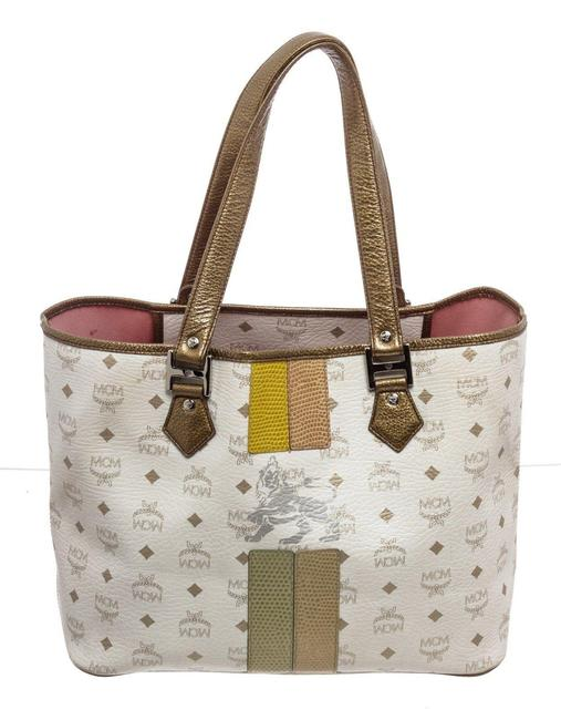 Item - Bag Shopper White Gold Leather Canvas Tote