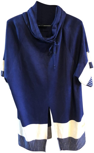 Item - Royal Blue and Cream Silk Cashmere Pant Suit Size 6 (S)