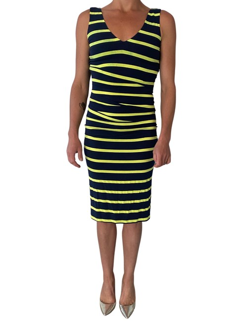 Item - Navy Blue Neon Green Body Con Striped Mid-length Night Out Dress Size 00 (XXS)