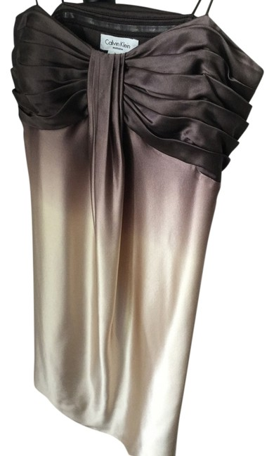 Calvin Klein Exclusive Designer Date Night Prom Party Holiday Night Out Custom Coffee Cream Beauty Dress Image 1