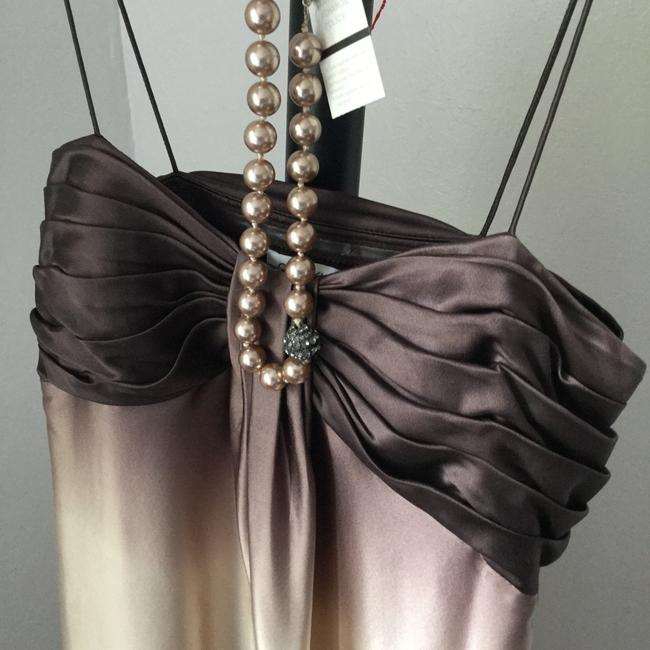 Calvin Klein Exclusive Designer Date Night Prom Party Holiday Night Out Custom Coffee Cream Beauty Dress Image 2