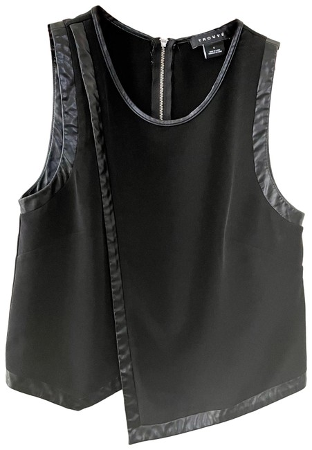 Item - Faux Leather Trimmed Tank Top