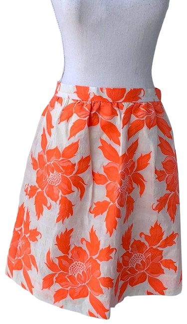 Item - White Neon Orange Floral Lined Skirt Size 6 (S, 28)