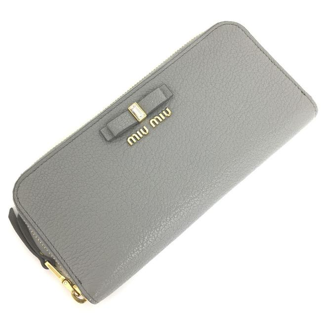 Item - Gold / Gray Long Madras Fiocco Round Zip Ribbon 5ml506 Leather Nube Ladies Wallet