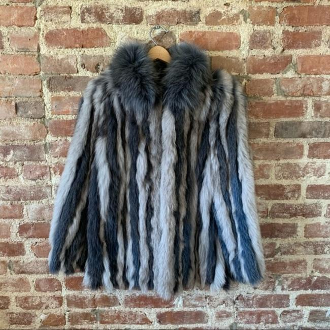 Item - Blue Gray Genuine Fox Jacket Vintage Medium Coat Size 10 (M)