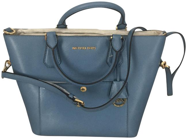 Item - Greenwich Large Grab Blue Leather Tote
